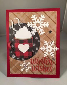 card MFT Hot Cocoa Cups Die-namics plaid paper snowflakes