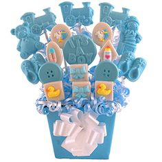 With molds, thes candies are so easy to make.  I make them for every holiday! Baby Shower Boy Centerpieces Candy Table Decorations