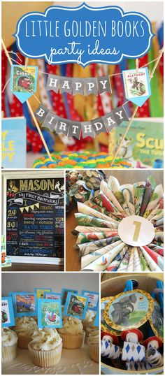 Here's an adorable Little Golden Books theme for a 1st birthday! See more party ideas at CatchMyParty.com!