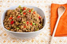 Dirty Quinoa - ground beef, quinoa, bell pepper, onion, celery, garlic...