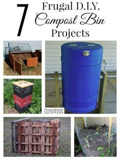 7 DIY Compost Bin Projects ~ Would you like to compost your kitchen and yard waste, but don't have a compost pile? Here are 7 frugal DIY compost bin projects to help you create one! Compost Barrel, Garden Compost, Outdoor Projects, Garden Projects, Organic Gardening, Gardening Tips, Vegetable Gardening, Patio, Backyard
