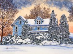 Winter Gallery - Artist Thelma Winter - Blue House - Hamburg NY (Powered by CubeCart) Winter Painting, Winter Art, Nostalgic Art, Barn Art, Cottage In The Woods, Country Art, Winter Scenes, Art Pages, Landscape Art
