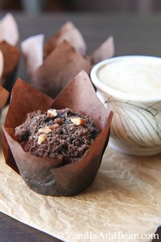 Deep dark double chocolate vegan muffins with zucchini and chocolate pecan streusel AWESOME! Made with gf flour & sugar Köstliche Desserts, Delicious Desserts, Dessert Recipes, Yummy Food, Breakfast Recipes, Double Chocolate Muffins, Vegan Sweets, How Sweet Eats, Sweet Bread