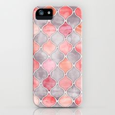 Rhythm of the Seasons - coral pink & grey iPhone & iPod Case by Micklyn - $35.00