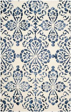 DDY719P Rug from Dip Dye collection. DDY719P from Safavieh's Dip Dye Collection is a masterfully styled navy area rug with floral designed and a twice-dyed pure wool pile.