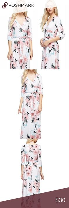 White Floral 3/4 Sleeve Maxi Dress Small DRESS DESIGN/PRINT/COLOR: Faux Wrap, Tie Waist, 3/4 Sleeve, V-Neck, Floral/Flower Print, White DRESS CARE & FABRIC: Hand-Wash and/or Machine Wash. 96% Polyester and 4% Spandex (wrinkle resistant)  S US Size S (0-4) Bust 26-30 inch Waist 23-27 inch Length 55 inch Von Nollo Dresses Maxi