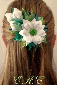 """заколка """"Свежесть"""" - зелёный,белый,канзаши,заколка с цветами,заколка для волос"""