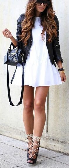 A line casual dress, leather jacket with lace up heels