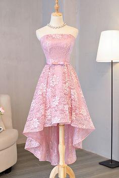 Lace prom dress, high low prom dress, 2017 bridesmaid dress