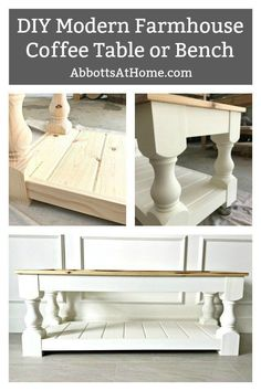 Build this DIY Modern Farmhouse Bench or Coffee Table with a Shelf. Full tutorial and easy to follow plans. #BuildPlans #FreePlans #AbbottsAtHome #ModernFarmhouse Diy Furniture Plans Wood Projects, Home Furniture, Outdoor Furniture, Wooden Furniture, Diy Projects, Country Furniture, Repurposed Furniture, Antique Furniture, Furniture Dolly