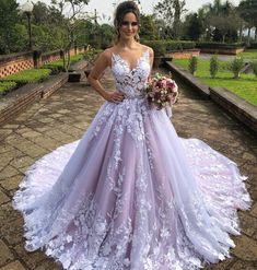 New Arrival Lavender Wedding Dresses Lace Applique Sheer Buttons Back Bridal Gowns Lavender Wedding Dress, Pretty Wedding Dresses, Luxury Wedding Dress, Elegant Wedding Dress, Colored Wedding Dresses, Cheap Wedding Dress, Wedding Dress Styles, Designer Wedding Dresses, Purple Wedding Gown