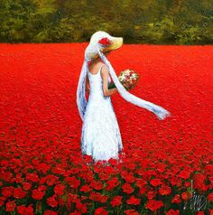 Painting,  100 x 100 cm ©2013 by DIMA DMITRIEV -  Painting, Impressionism, girl, girlie, red, poppy, poppies, field, summer, happiness, chil...