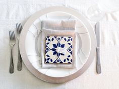 Blue & white, mixed styles, 4x4 Mexican/Spanish Decorative Ceramic Talavera Tiles. We can wrap them in groups or individually, stamp the back w/custom logo & name tag or Thank you note attached the the front.  These are beautiful & truly the perfect size, and easy for your guests to carry around (and not lose) during the cocktail hour/reception. They can double as seating cards or as a memorable party favor.  Its very difficult to pull specific tiles so we like to d...