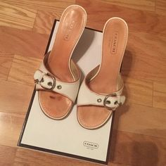 Coach High Heel Sandals Coach Ivory and Blush high heel Sandals. Very Gently worn. Come with original box. Coach Shoes Sandals