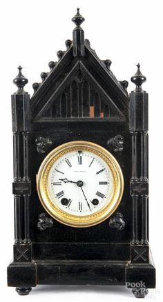 Mantel Clock; Seth Thomas, Cathedral, Ebonized, 15 inch. Year: 1875 - 1910