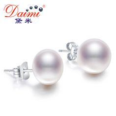 DAIMI Perles de Culture Boucles D'oreilles Femmes 7-8mm 8-9mm Paragraphe Coloré Boucles D'oreilles, 925 Sterling Silver Pearl Boucles D'oreilles