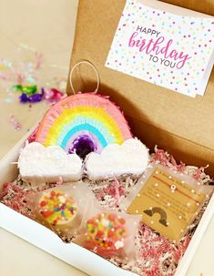 Birthday Pinata, Birthday Gifts, Birthday In A Box, Party In A Box, Party Kit, Rainbow Pinata, Birthday Care Packages, Glitter Cards, Candy Party