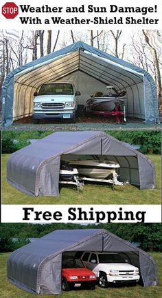 Best for wide ShelterLogic Portable Garage fully enclosed RV Boat truck equipment Shelter Custon-built sizes from to long kits for personal, business, industrial, commercial, instant Enclosed Carport, Carports For Sale, Rv Shelter, Portable Carport, Steel Carports, Rv Garage, Boat Insurance, Search And Rescue, Motorhome