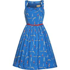 'Carmela' Blue Swimmer Print Swing Dress (3.590 RUB) ❤ liked on Polyvore featuring dresses, blue, trapeze dresses, blue print dress, flared skirt, patterned skater skirt and circle skirt