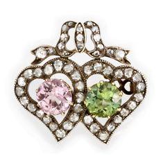 A LATE VICTORIAN TOURMALINE AND DIAMOND TWIN HEART BROOCH - Bentley & Skinner