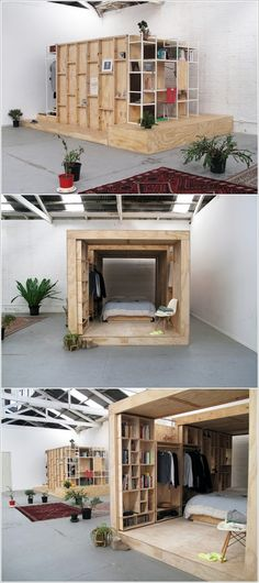 Clever way to turn a warehouse into multiple private living spaces. 41 Amazing Interior Modern Style Ideas To Update Your Living Room – Clever way to turn a warehouse into multiple private living spaces. Warehouse Living, Warehouse Loft, Warehouse Shelving, Small Space Living, Small Spaces, Living Spaces, Loft Spaces, Built In Furniture, Furniture Design