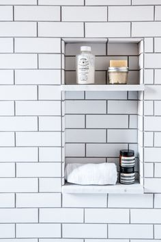 Built in shower nook, with white subway tiles and white gray grout -- great bathroom style hack, because your grout never looks dingy . use same marble from bathroom vanity top in inset Bathroom Renos, Small Bathroom, Bathroom Ideas, Bathroom Grey, Bathroom Remodeling, Remodeling Ideas, Bathroom Shelves, Compact Bathroom, Bathroom Showers