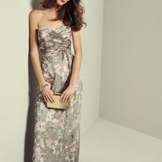 New Amsale  Amore Print Silk Chiffon Gown