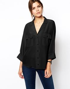 ASOS Blouse With Double Pockets And Batwing Sleeves