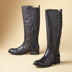 """ANNIE SPIRIT BOOTS--From Lucchese®'s """"Spirit"""" line, these boots sport burnished buttons for good looks as well as a side zipper and elastic gore for ease. Leather with weather-ready sole. Imported. Whole and half sizes 6 to 10, 11.View our entire Lucchese Collection"""