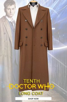 Grab this Stylish Light-Weight Tenth Long Brown Coat! Doctor Who Shop, Long Brown Coat, Doctor Coat, 10th Doctor, David Tennant, Double Breasted, Suit Jacket, Ootd, Stylish