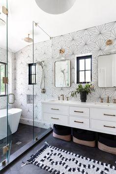 Master Bathroom Shower, White Bathroom Tiles, Shiplap Master Bathroom, White Bathrooms, Basement Bathroom, Amazing Bathrooms, Modern Boho Bathroom, Modern Farmhouse Bathroom, Bathroom Inspo
