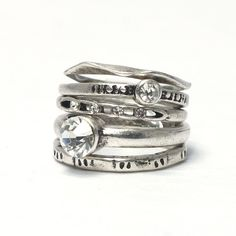 Rustic silver stacking rings