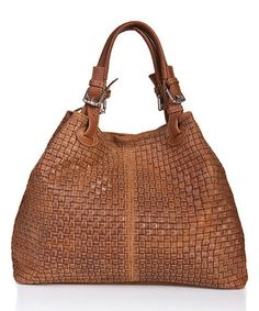 8f3689c08fc7 Cognac Basketweave Leather Hobo  zulilyfinds Boho Bags