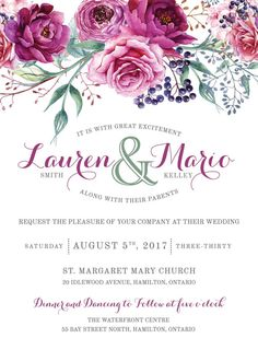 Wedding Invitation SetBridal Invitation by dolledupinvitations