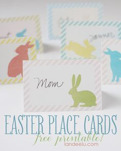 Do you celebrate with a big family meal for Easter? Get these free printable Easter place cards with adorable bunnies. They would work well as Spring themed note cards too. Printable Place Cards, Diy Place Cards, Place Card Template, Free Printable Calendar, Card Templates, Easter Brunch, Easter Party, Easter Dinner, Easter Food