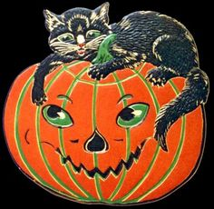 Vintage Halloween Cat & Pumpkin Cutout