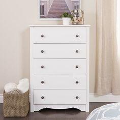 5 Drawer Dresser Wooden Clothes Chest Organizer Bedroom Furniture Decor White  #Contemporary