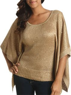 ARDEN B: Batwing Sleeve Sequin Sweater [Gold] $59.00