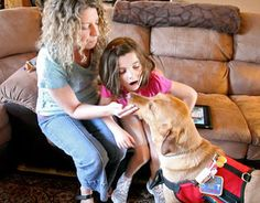 Dana Bertrand has two children with autism, her youngest is also diabetic and unable to communicate how she feels. Enter Cyrus, their medical service dog who can detect eight-year old Brianna's blood sugar levels from the scent of her breath and skin. If the yellow Labrador retriever senses Brianna's blood sugar level is low or high, he alerts her parents. Her parents then test Brianna. We here at Allie Smiles wish Brianna and Cyrus the best of luck in the future!