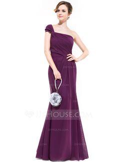 Trumpet/Mermaid One-Shoulder Floor-Length Chiffon Bridesmaid Dress With Ruffle (007051363) - JJsHouse