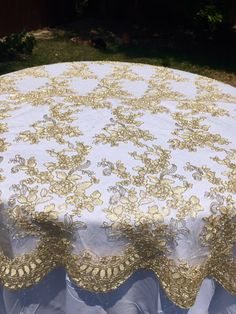 Gold Lace Tablecloth Table Overlay Runner Embroidered Cloth