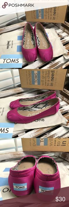 Neiman Marcus Toms fuschia ballet flats size 7.5 Neiman Marcus exclusives Toms Rowan fuschia grosgrain ballet flats size 7.5.  I wore these once  so they are in excellent condition.   I'm back!!!  It's time to clear out my overstuffed closets and pass on some loved items to you amazing ladies!   I'm not a professional seller and I'd like to be firm with all my prices.  I do my best to get great clear photos of my items and I'm not trying to bamboozle anyone.   Have any questions please ask…