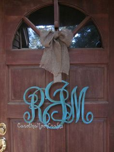 Wooden Family or Individual Initial Monogram Door Decor. $64.95, via Etsy.