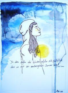 """""""In den tiefen des Winters erfuhr ich schließlich, dass in mir ein unbesiegbarer Sommer liegt."""" Albert Camus By Angé 2014 Albert Camus, Quotes, Summer, Quotations, Quote, Manager Quotes, Qoutes, A Quotes"""