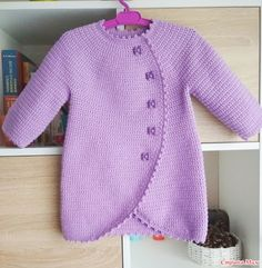 Crochet jacket for girl Crochet Baby Jacket, Crochet Baby Sweaters, Knitted Baby Cardigan, Crochet Coat, Crochet Baby Clothes, Crochet Toddler, Crochet Girls, Free Crochet, Baby Knitting Patterns