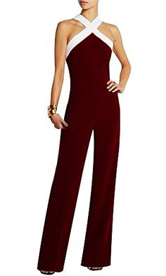 99aeba3eb11bd Cfanny Womens Plus Size Sleeveless Wide Leg Long Pants Jumpsuits  RompersBurgundyXXLUS 12UK 14   You can