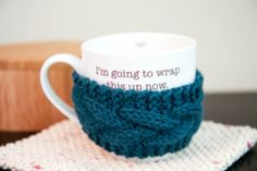 Cable Coffee Cozy Mug Wrap Hand Knit in Peacock by whiskeystitch, $14.50