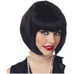 Women's Flapper Wig (Black) - Black - One Size for Halloween ($7.60) ❤ liked on Polyvore featuring costumes, halloween costumes, ladies costumes, lady costumes, womens flapper costume, gatsby costumes and womens flapper halloween costumes
