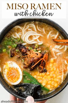 Healthy Dinner Recipes, Soup Recipes, Cooking Recipes, Easy Ramen Recipes, Healthy Food, Healthy Dinners, Chicken Ramen Recipe, Miso Ramen Soup Recipe, Healthy Chicken