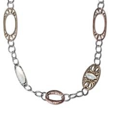 """Canyon Road 30"""" Mixed Metal Link and Mother of Pearl Necklace"""
